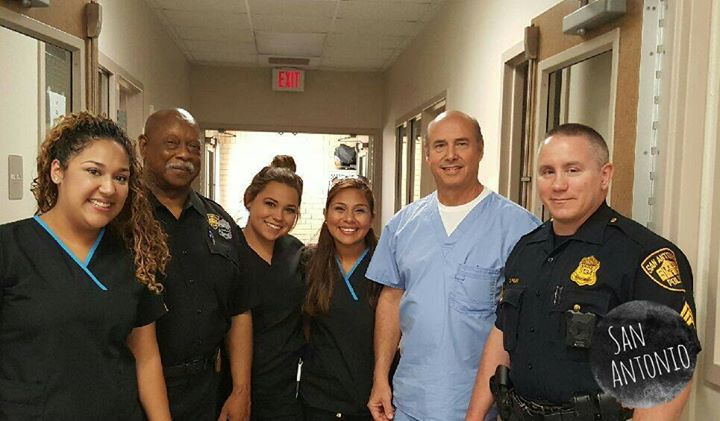 A dental staff and two sheriffs